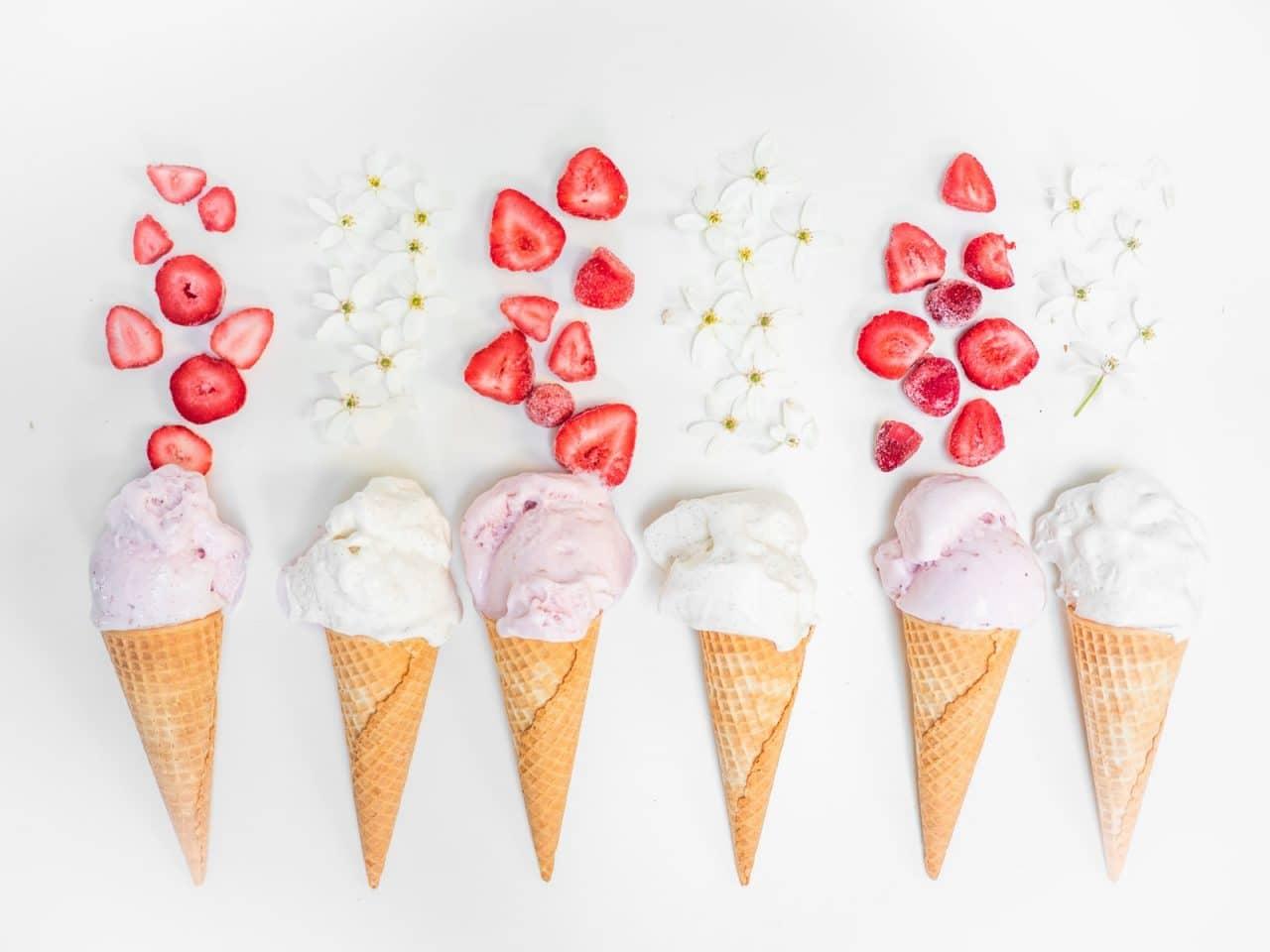ice cream with strawberry on cone